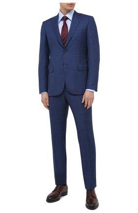 Мужская хлопковая сорочка TOM FORD голубого цвета, арт. 4FT192/94C1JE | Фото 2 (Мужское Кросс-КТ: Сорочка-одежда; Материал внешний: Хлопок; Статус проверки: Проверена категория, Проверено; Рукава: Длинные; Длина (для топов): Стандартные; Принт: Однотонные; Случай: Формальный; Манжеты: На пуговицах; Воротник: Кент)