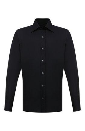 Мужская хлопковая сорочка с воротником кент TOM FORD черного цвета, арт. 4FT195/94S1JE | Фото 1