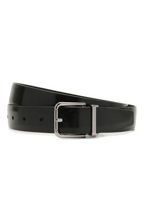 Мужской кожаный ремень с металлической пряжкой DOLCE & GABBANA черного цвета, арт. BC4216/AI935 | Фото 1