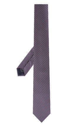Шелковый галстук с узором Brioni сиреневого цвета | Фото №1