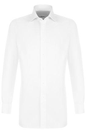 Хлопковая сорочка с воротником кент Brioni белая | Фото №1