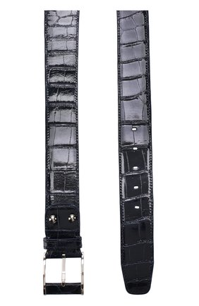 Ремень из кожи крокодила с металлической пряжкой Zilli темно-синий | Фото №1