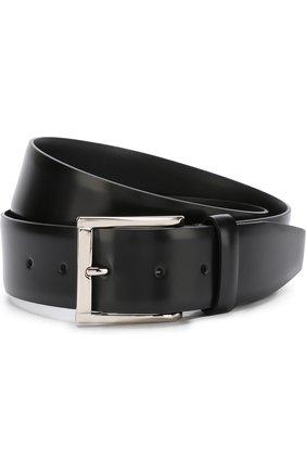Мужской кожаный ремень с металлической пряжкой CANALI черного цвета, арт. 50/KA00209 | Фото 1