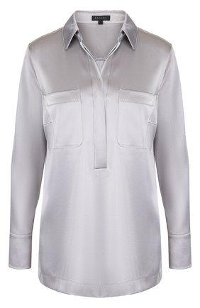 Блуза свободного кроя с накладными карманами   Фото №1