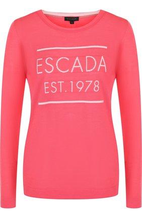 Шерстяной пуловер с круглым вырезом и логотипом бренда Escada коралловый   Фото №1