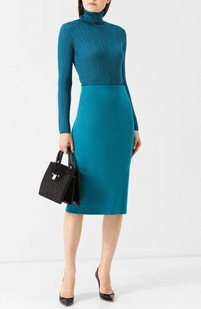 Однотонная юбка-миди с разрезом M Missoni бирюзовая | Фото №1