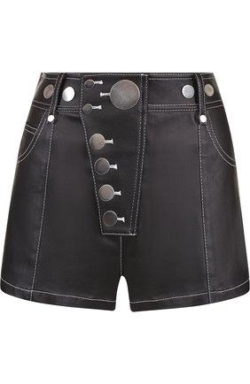 Джинсовые мини-шорты с контрастной прострочкой Alexander Wang черные | Фото №1