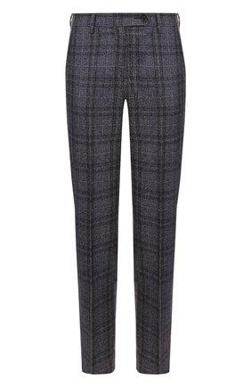 Женские укороченные брюки из смеси кашемира и льна с шелком KITON синего цвета, арт. D38103K01R29 | Фото 1