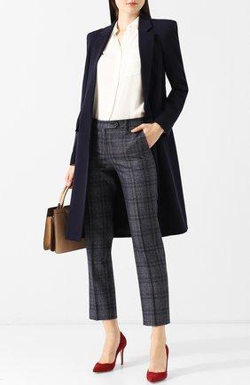 Женские укороченные брюки из смеси кашемира и льна с шелком KITON синего цвета, арт. D38103K01R29 | Фото 2