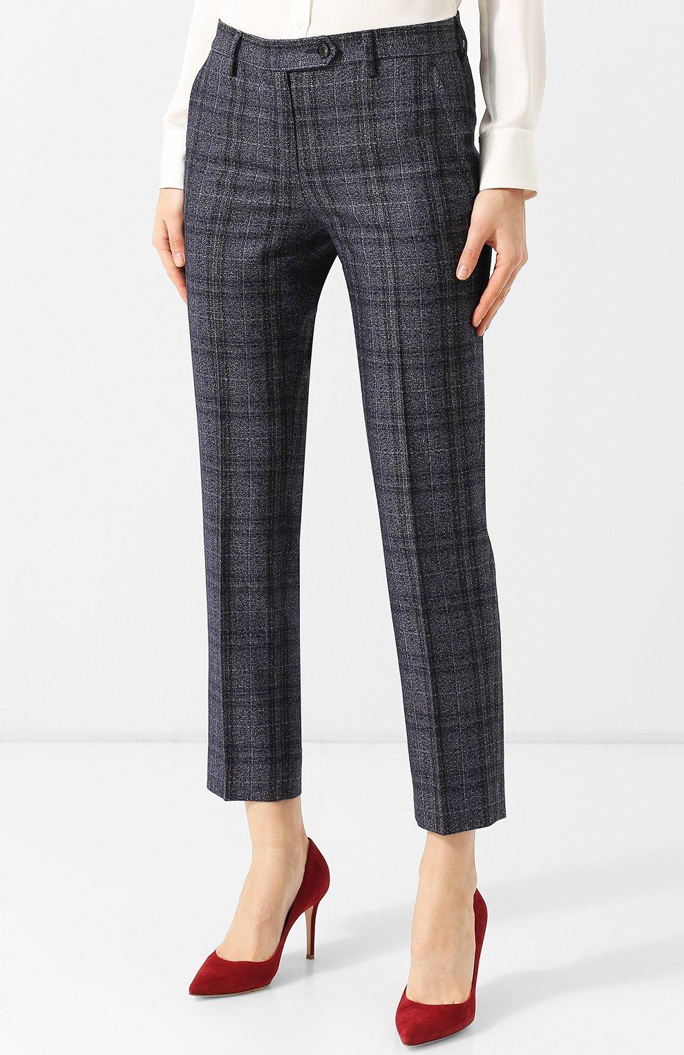 Женские укороченные брюки из смеси кашемира и льна с шелком KITON синего цвета, арт. D38103K01R29 | Фото 3