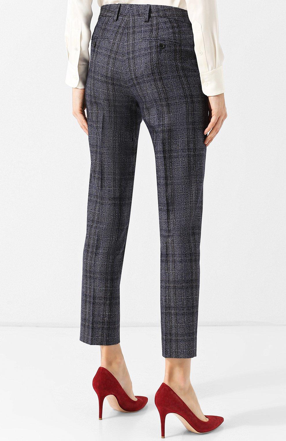 Женские укороченные брюки из смеси кашемира и льна с шелком KITON синего цвета, арт. D38103K01R29 | Фото 4