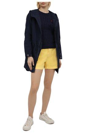 Женский хлопковый пуловер POLO RALPH LAUREN синего цвета, арт. 211580009 | Фото 2 (Рукава: Длинные; Длина (для топов): Стандартные; Материал внешний: Хлопок; Статус проверки: Проверено, Проверена категория; Женское Кросс-КТ: Пуловер-одежда)