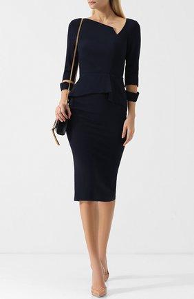 Приталенное платье-миди с оборкой Roland Mouret синее | Фото №1