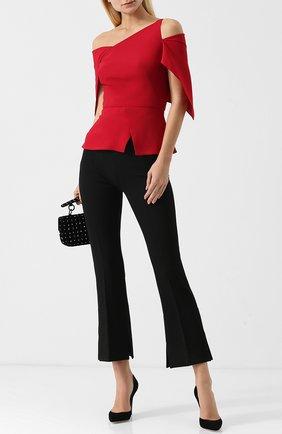 Укороченные расклешенные брюки со стрелками Roland Mouret черные | Фото №1