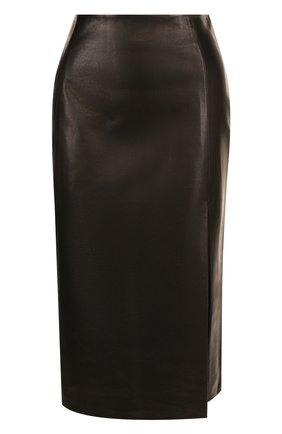 Кожаная юбка с высоким разрезом DROMe черная | Фото №1