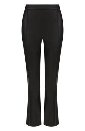 Укороченные кожаные брюки с карманами DROMe черные | Фото №1