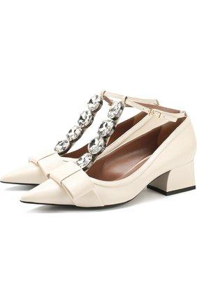 Кожаные туфли с бантом и кристаллами Marni кремовые | Фото №1