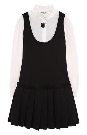 Платье с защипами и воротником-стойкой | Фото №1
