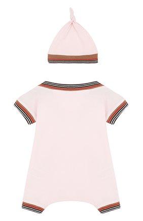 Детское хлопковый комплект из комбинезона и шапки BURBERRY розового цвета, арт. 8002859 | Фото 2