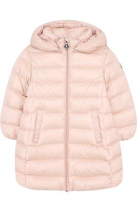 Детского стеганое пальто на молнии с капюшоном MONCLER ENFANT светло-розового цвета, арт. D2-951-49372-05-53048 | Фото 1