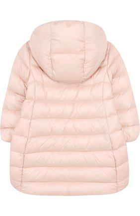 Детского стеганое пальто на молнии с капюшоном MONCLER ENFANT светло-розового цвета, арт. D2-951-49372-05-53048 | Фото 2