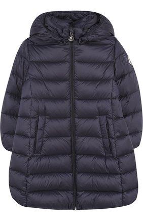 Детского стеганое пальто на молнии с капюшоном MONCLER ENFANT синего цвета, арт. D2-951-49372-05-53048 | Фото 1