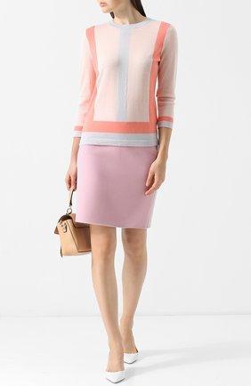 Пуловер из смеси шерсти и кашемира с круглым вырезом Escada светло-розовый   Фото №1