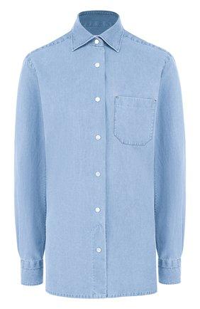 Джинсовая блуза с накладным карманом | Фото №1