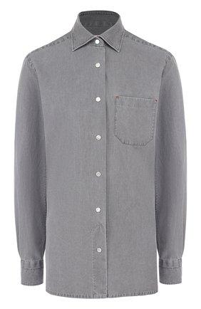 Джинсовая блуза с накладным карманом   Фото №1