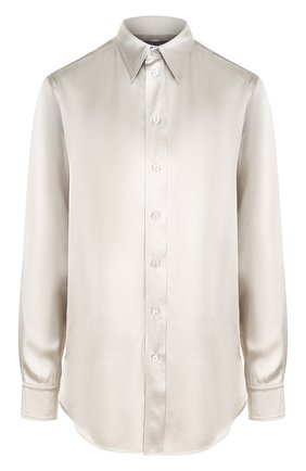 Женская однотонная шелковая блуза с отложным воротником RALPH LAUREN серебряного цвета, арт. 290718910 | Фото 1