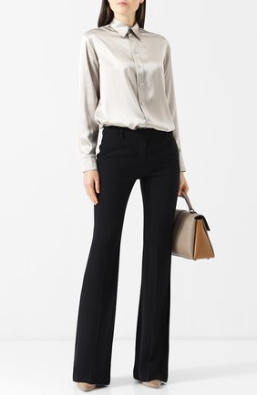 Женская однотонная шелковая блуза с отложным воротником RALPH LAUREN серебряного цвета, арт. 290718910 | Фото 2