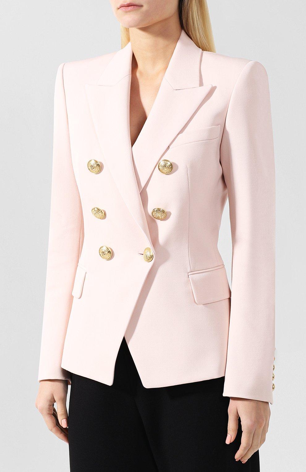 Приталенный двубортный жакет из шерсти Balmain светло-розовый | Фото №3