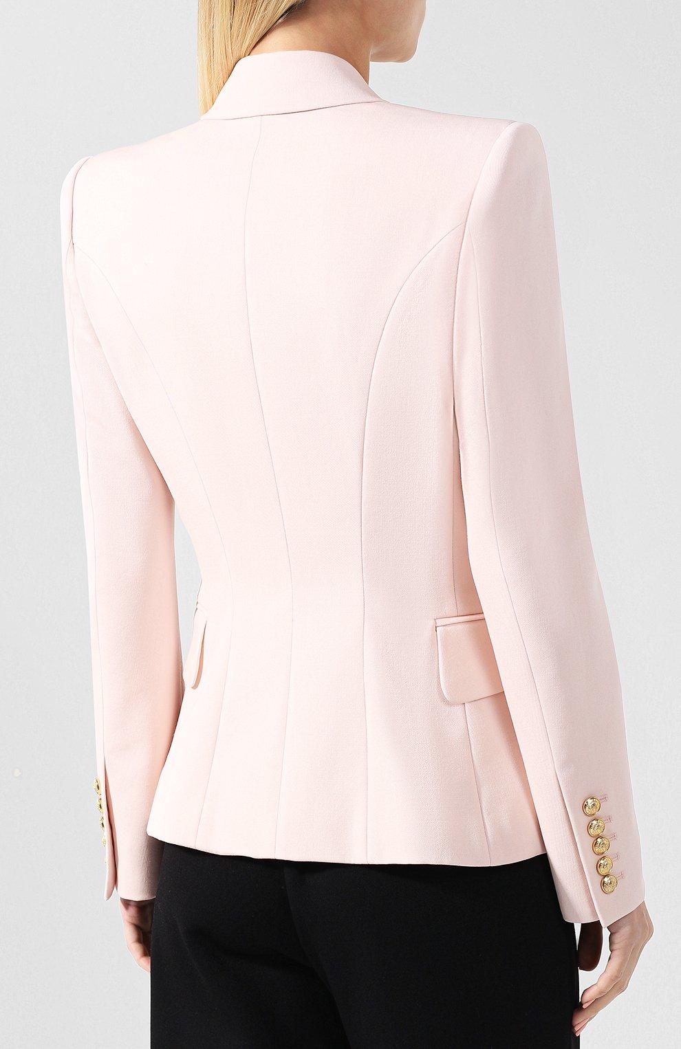 Приталенный двубортный жакет из шерсти Balmain светло-розовый | Фото №4