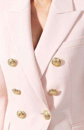 Приталенный двубортный жакет из шерсти Balmain светло-розовый | Фото №5