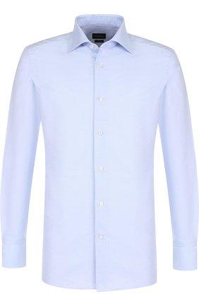 Мужская хлопковая сорочка кент ERMENEGILDO ZEGNA голубого цвета, арт. 401030/9MS0BR | Фото 1
