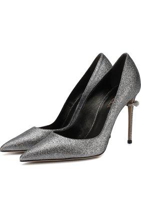Туфли с глиттером на декорированном каблуке Le Silla серебряные | Фото №1