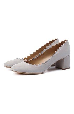 Женская замшевые туфли lauren CHLOÉ светло-серого цвета, арт. CHC16S23001 | Фото 1