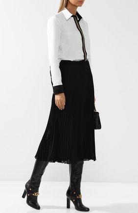 Кожаные сапоги Tribute на устойчивом каблуке Versace черные | Фото №1