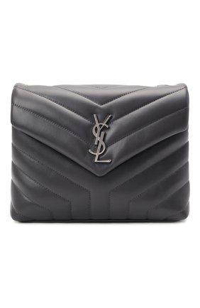 Женская сумка monogram loulou small SAINT LAURENT темно-серого цвета, арт. 494699/DV726 | Фото 1 (Размер: small; Ремень/цепочка: На ремешке; Материал: Натуральная кожа; Статус проверки: Проверена категория)
