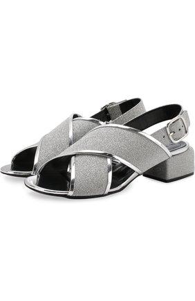 Кожаные босоножки с глиттером на низком каблуке Marni серебряные | Фото №1