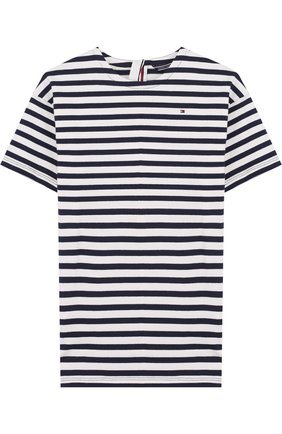 Детское хлопковое мини-платье прямого кроя Tommy Hilfiger синего цвета | Фото №1