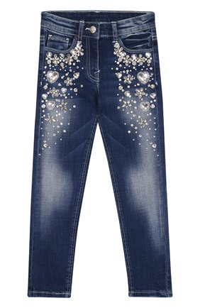 Детские джинсы с кристаллами Monnalisa синего цвета | Фото №1