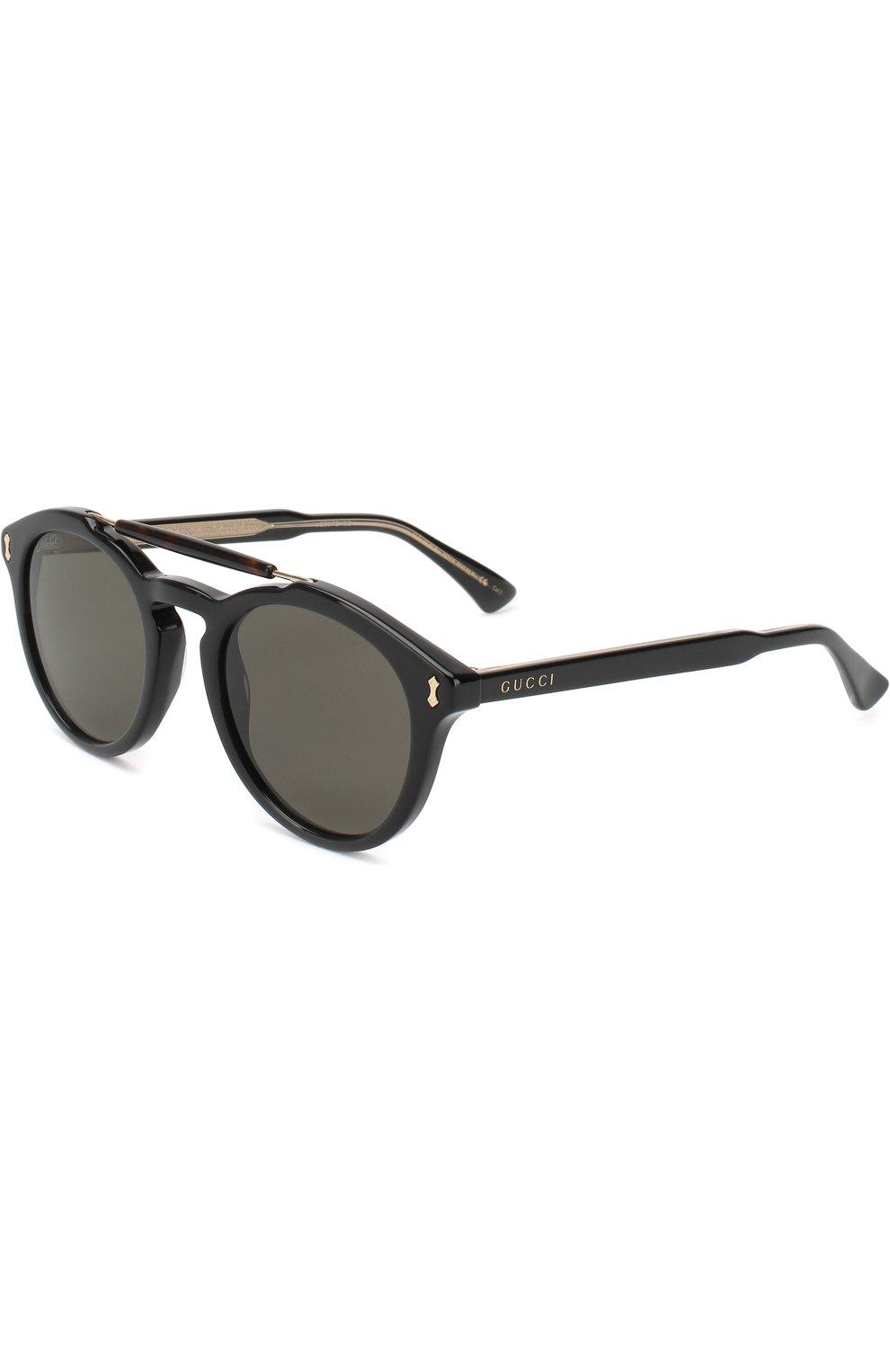 Мужские солнцезащитные очки GUCCI черного цвета, арт. GG0124 001 | Фото 1