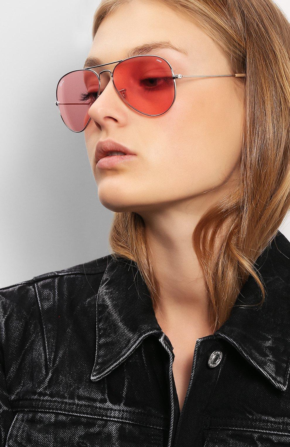 Женские солнцезащитные очки RAY-BAN розового цвета, арт. 3025-9065V7 | Фото 2