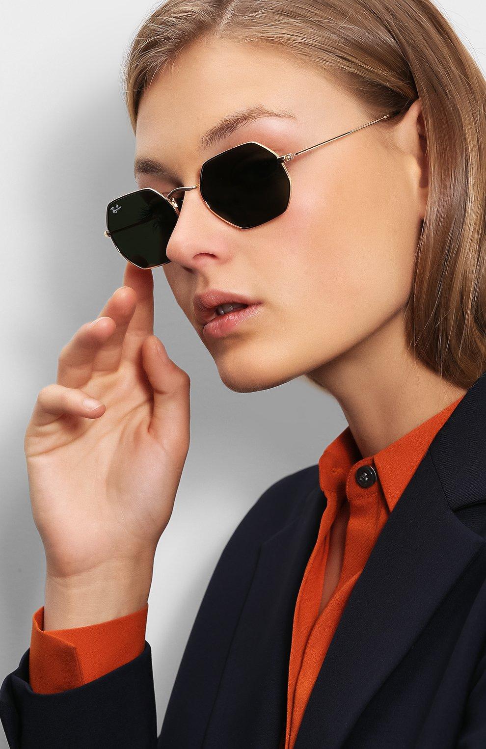 Женские солнцезащитные очки RAY-BAN золотого цвета, арт. 3556N-001 | Фото 2