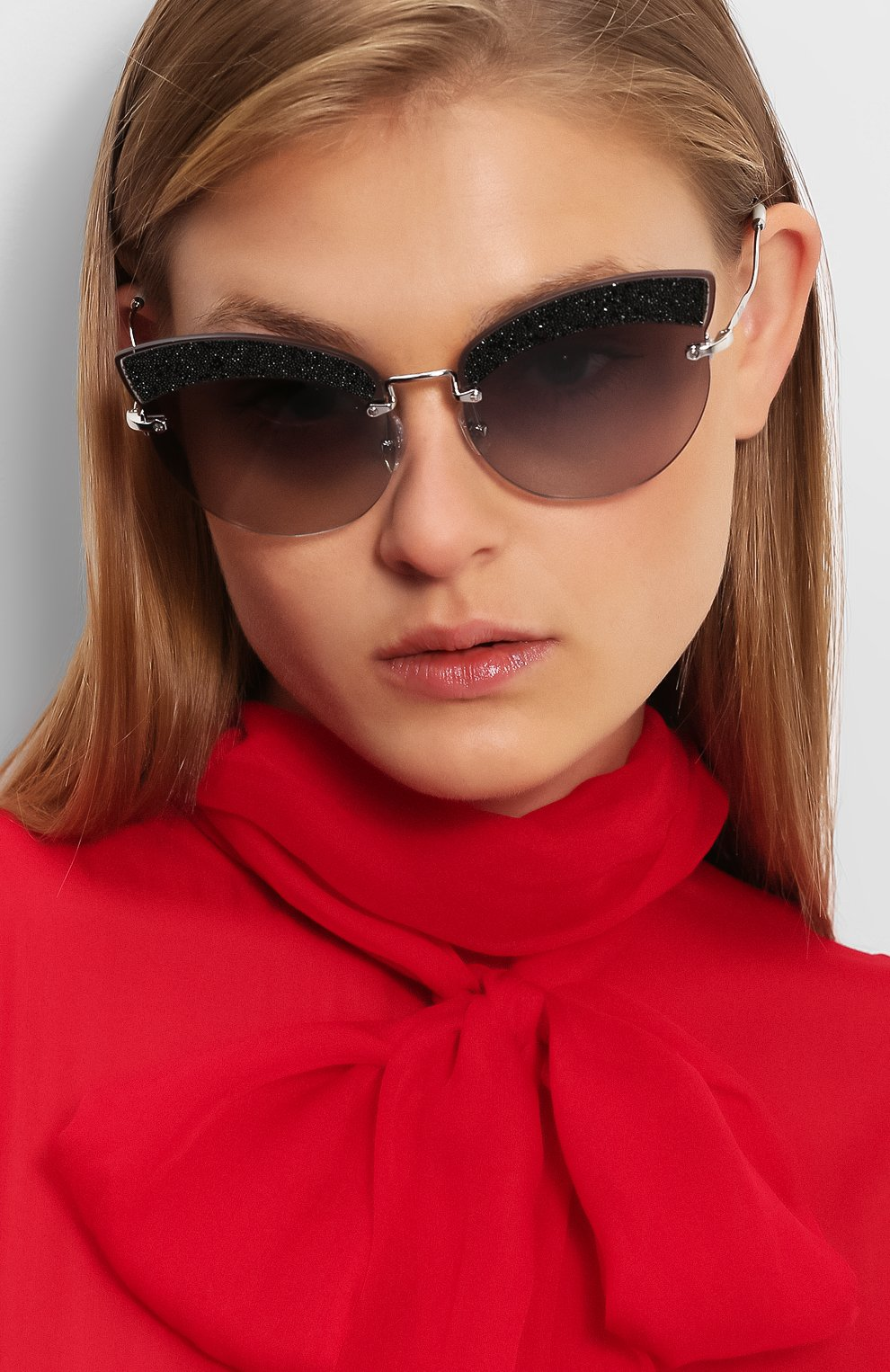 Солнцезащитные очки Miu Miu светло-серые | Фото №2