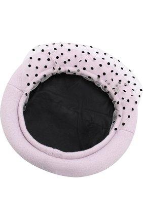 Шерстяной берет с декоративной сеточкой Maison Michel розового цвета   Фото №2