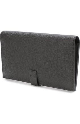 Женские кожаное портмоне с футляром для кредитных карт SAINT LAURENT темно-серого цвета, арт. 535932/DTI0E   Фото 2