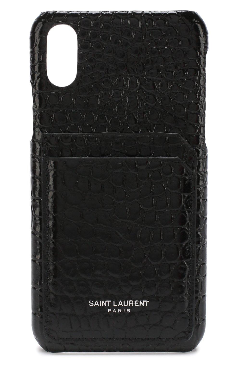 Кожаный чехол для iPhone X Saint Laurent    Фото №1