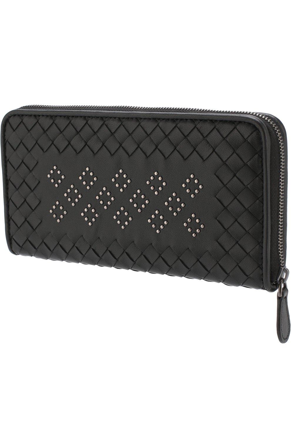 Кожаный кошелек на молнии с плетением intrecciato Bottega Veneta черного цвета | Фото №2